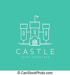 Abstract Castle Line Style Vector Logo Template