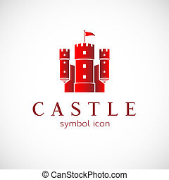 Abstract Castle Vector Icon Isolated on White Background