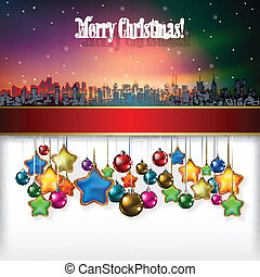 Abstract celebration background with Christmas decorations and silhouette of New York