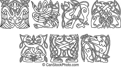 Abstract celtic animals and birds patterns - Abstract celtic...