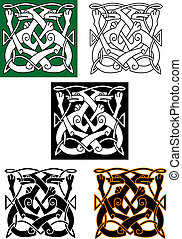 Abstract celtic pattern with animal and ornament elements