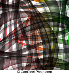 Abstract chaotic pattern with colorful translucent curved lines