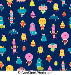 Abstract characters vector seamless pattern on blue background