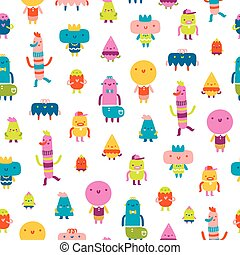 Abstract characters vector seamless pattern on white background