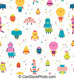 Abstract characters vector seamless pattern