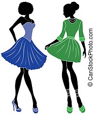 Abstract charming ladies - Abstract charming slender females...
