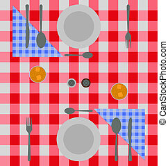 Abstract checkered dinner setting - Abstract dinner setting...