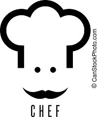 abstract chef with mustache vector design template