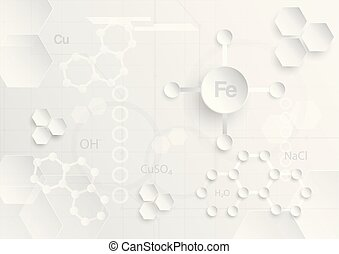 Abstract chemical background in grey and white tone in concept of paper cut and flat design.