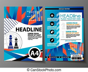 Abstract chess design vector template layout