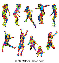 Abstract children silhouettes