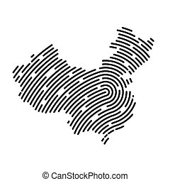 abstract China map filled with fingerprint pattern- vector illustration