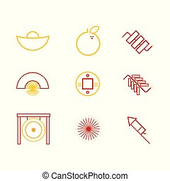 Abstract Chinese Custom Icon Outline Vector Illustration Graphic