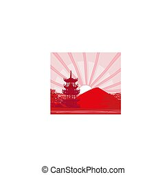 abstract Chinese landscape, illustration of a sunset