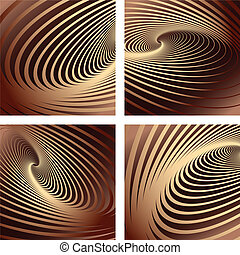 Abstract chocolate backgrounds set. Vector art.