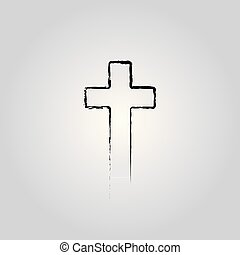 Abstract Christian cross black in hand drawn style Christian cross sign