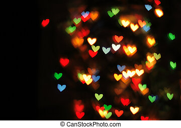 abstract christmas background (color heart lights)