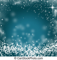 Abstract Christmas background of holiday lights and stars