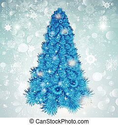 Abstract Christmas background with blue tree in snowflakes.