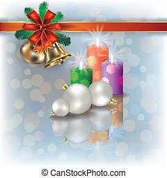 Christmas background with candles on white