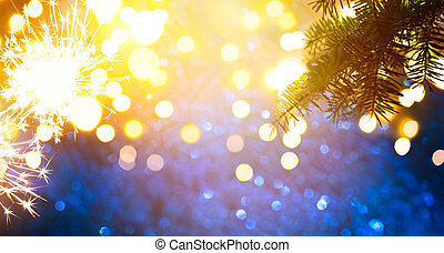 Abstract Christmas Background with Christmas tree and holidays light