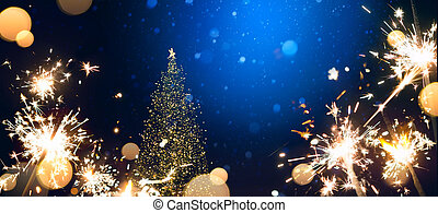 abstract Christmas Background with Christmas tree light and holidays magic flare