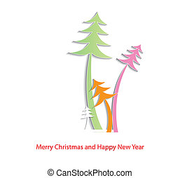 Abstract Christmas background with christmas trees