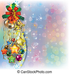 Christmas background with decorations and ribbons