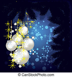 Abstract Christmas background with decorations and tree