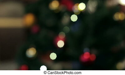 Abstract christmas background with defocused lights. Christmas background, bokeh