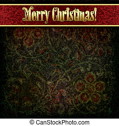 Christmas background with grunge floral ornament