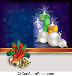 Christmas background with handbells decorations and candles