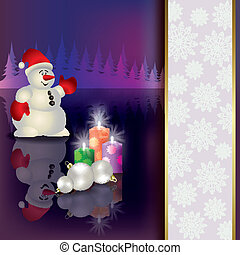 Christmas background with snowman and candles