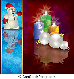 Christmas background with snowman decorations and candles