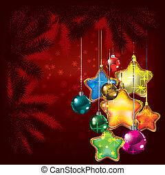 Abstract Christmas background with tree and decorations
