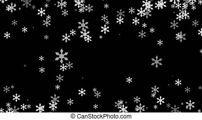 Abstract Christmas background with white snowflakes on black