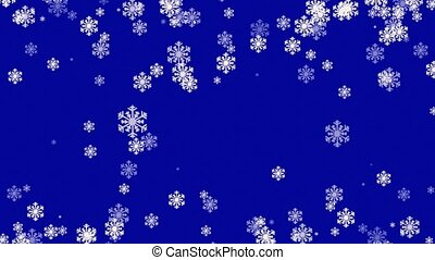 Abstract Christmas background with white snowflakes on blue