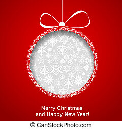 Abstract Christmas ball cutted from paper on red background