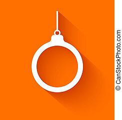 Abstract christmas ball on orange background