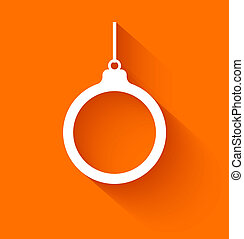 Abstract christmas ball on orange background