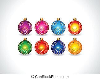 abstract christmas ball set vector