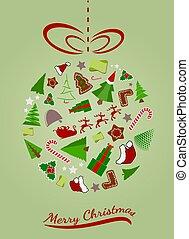 Abstract Christmas ball with icons