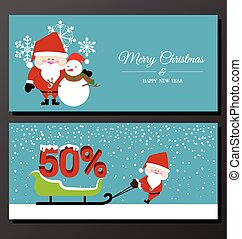 Abstract Christmas banner with Santa Claus