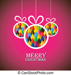 Abstract christmas bauble balls on pink background- vector graphic. This illustration shows three hanging balls decorated on xmas(feliz navidad) eve