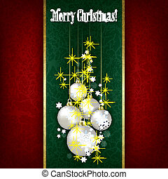 Abstract Christmas black greeting with white decorations on green
