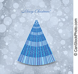 Abstract Christmas blue background with tree. Vector