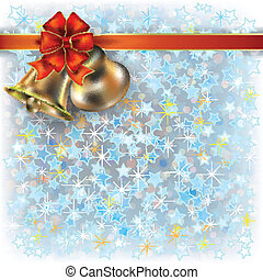 Christmas blue greeting with bells and bow
