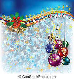 Christmas blue greeting with decorations and bells