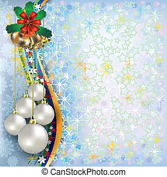 Christmas blue greeting with decorations and handbells