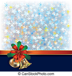 Christmas blue greeting with gift ribbons